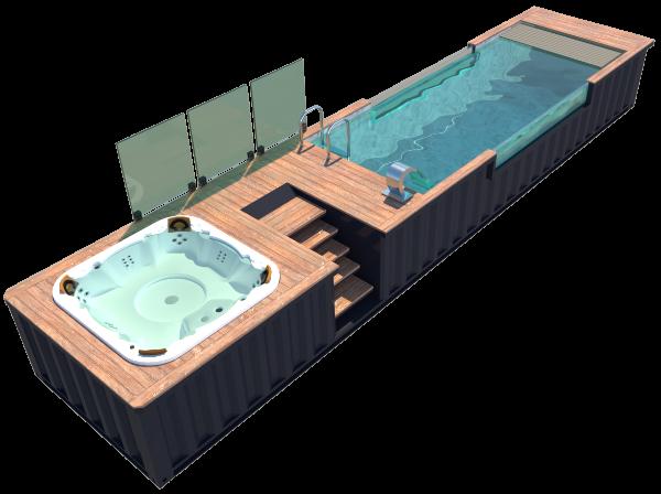 Piscine container couloir de nage avec spa jacuzzi