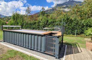 Réalisation d'une piscine container standard 6 mètres hors-sol par TinyPool sur le canton de Genève