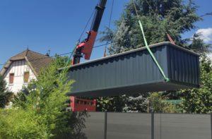 Réalisation d'une piscine container standard 6 mètres hors-sol par TinyPool sur Neuchâtel